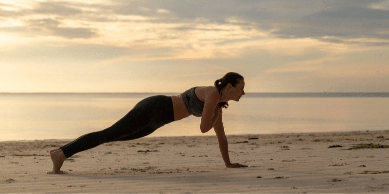 bedtime exercises for weight loss(Arm Extension to Shoulder Tap)